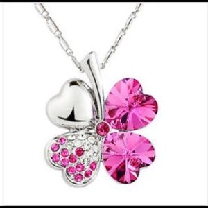 Pink Crystal Lucky Clover Pendant Necklace